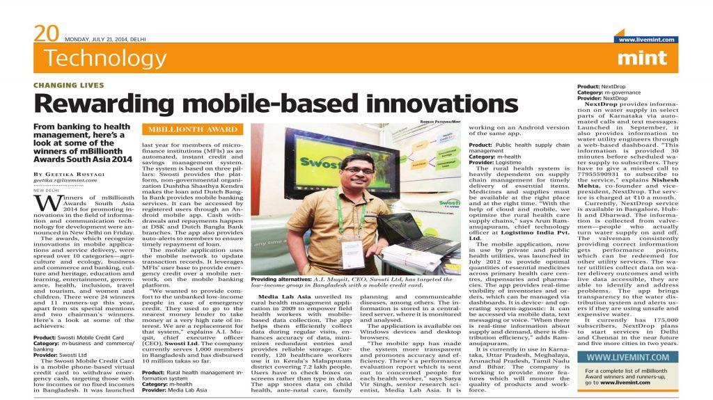 mBillionth Award Published in Delhi Newspaper.